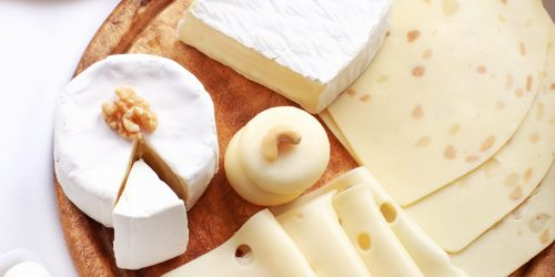 Arrangement of dairy products on a table
